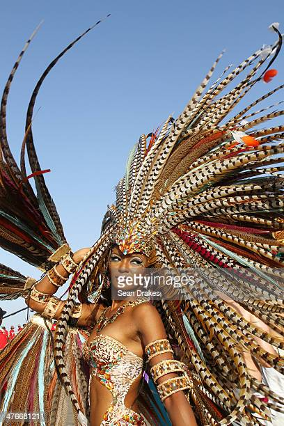 Model Soowan Bramble masquerades in the band Of Love and War by Harts during the Carnival Parade at the Trinidad Carnival on March 04 2014 in Port of...