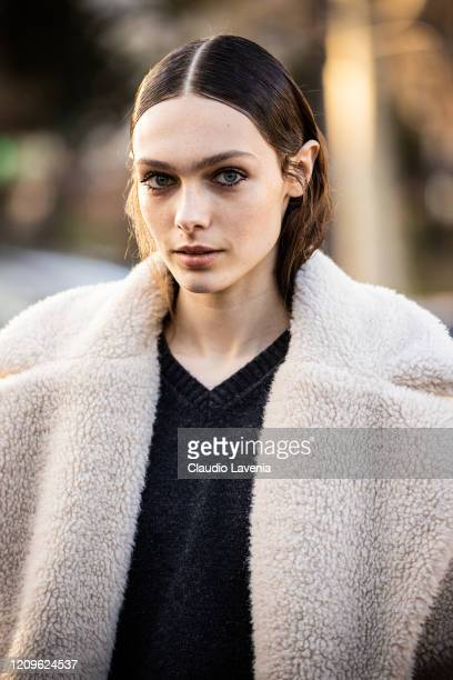 Model Sophia Roberts is seen outside Rokh fashion show on February 29, 2020 in Paris, France.