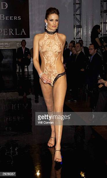 Model Sophie Anderton wears De Beers diamonds and La Perla lingerie at the De Beers/La Perla charity fashion show to benefit Cancer Research UK at Il...