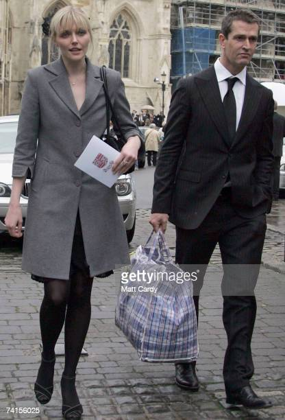 Model Sophie Dahl and actor Rupert Everett attend the funeral service for fashion stylist Isabella Blow at Gloucester Cathedral on May 15 2007 in...