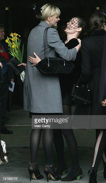 Model Sophie Dahl greets a friend at the funeral service for fashion stylist Isabella Blow at Gloucester Cathedral on May 15 2007 in Gloucester...
