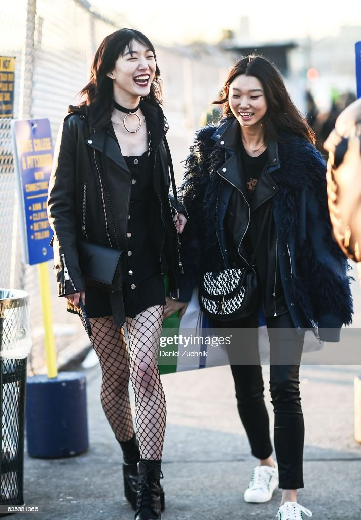 Model Sora Choi is seen wearing a leather jacket outside the Coach show during New York Fashion Week: Women's Fall/Winter 2017 on February 14, 2017 in New York City.