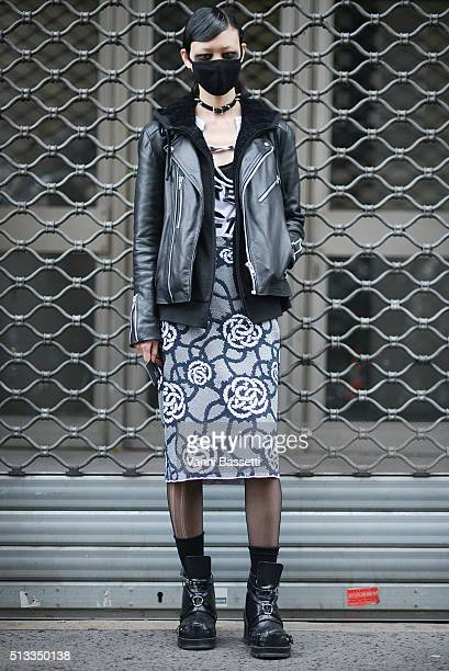 Model Sora Choi poses after the Dries Van Noten show during Paris Fashion Week FW16/17 on March 2 2016 in Paris France