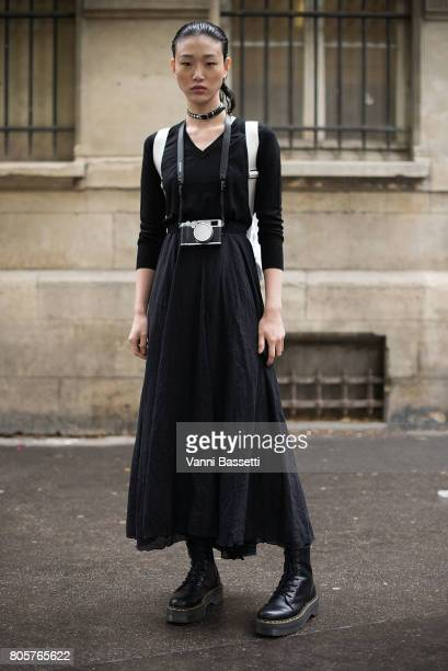 cb4b2be572f Model Sora Choi poses wearing Dr Martens boots after the Proenza Schouler  show at the Lycee