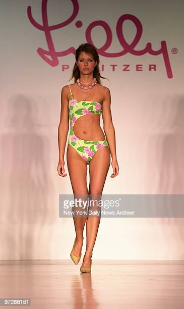 Model sports a colorful outfit from the new Lilly Pulitzer collection during show at the New York Public Library's Celeste Bartos Forum as part of...