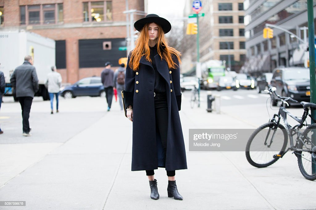 Model Stacey Grant Wears A Navy Dior Coat Black Margiela Blouse Kooples Skinny