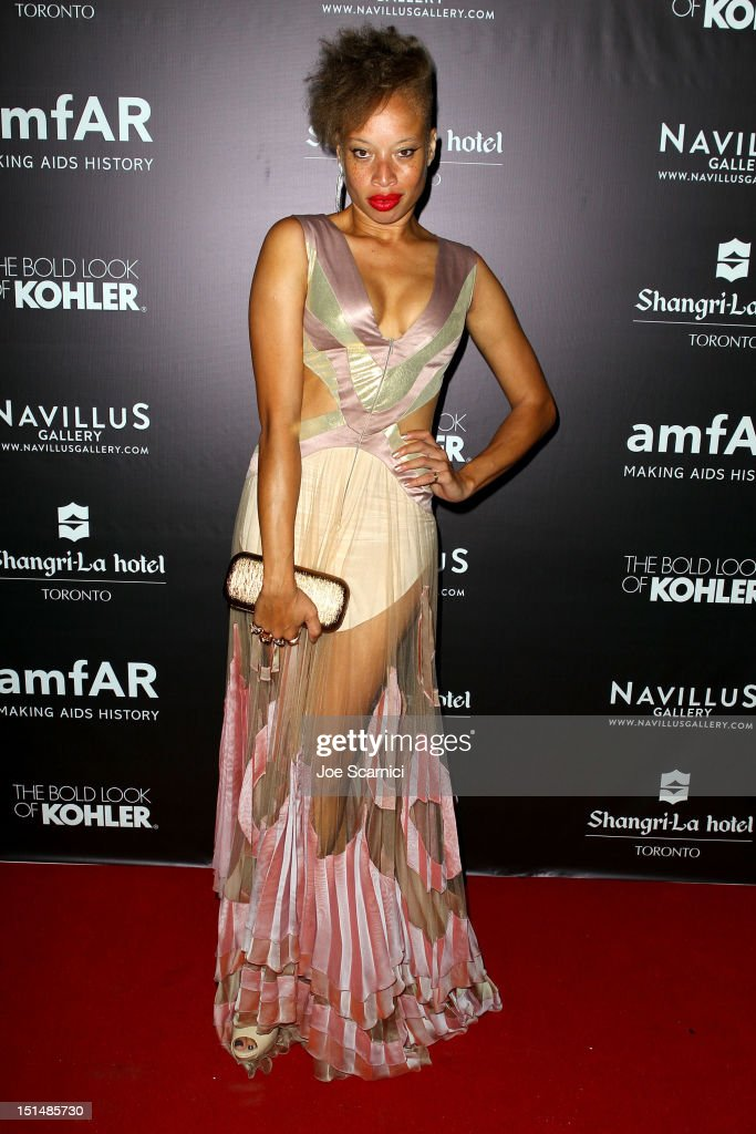 Model Stacey McKenzie attends amfAR Cinema Against AIDS TIFF 2012 during the 2012 Toronto International Film Festival at Shangri-La Hotel on September 7, 2012 in Toronto, Canada.