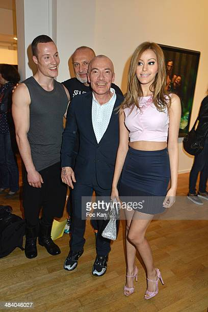 Model Staiv Gentis painter Gilles Blanchard Zahia Dehar and photographer Pierre Commoy from 'Pierre et Gilles' attend the 'Heros' Pierre et Gilles...