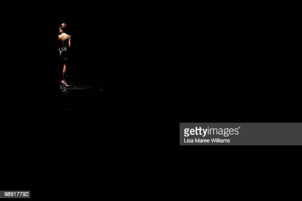 Model stands side of stage prior to the start of Rachel Gilbert's show during Rosemount Australian Fashion Week Spring/Summer 2010/11 at the Overseas...