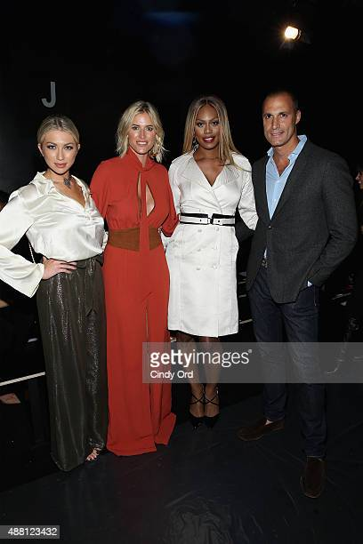 Model Stassi Schroeder TV Personality Kristen Taekman actress Laverne Cox and photographer Nigel Barker pose at Georgine Spring 2016 during New York...