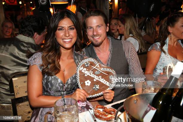 Model Stefan Mirbeth and Jana Azizi during the 'Almauftrieb' as part of the Oktoberfest 2018 at Kaefer Tent at Theresienwiese on September 23 2018 in...