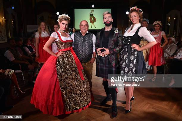 Model Stefanie Gaul Axel Munz designer Harald Gloeoeckler and a model during 'POMPOEOES By Angermaier Collection Presentation' at Deutsches Theatre...