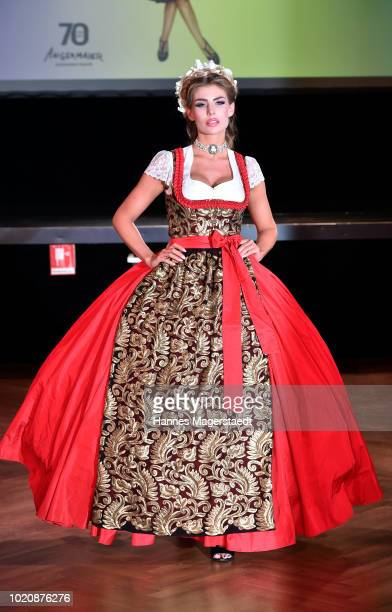 Model Stefanie Gaul during 'POMPOEOES By Angermaier Collection Presentation' at Deutsches Theatre on August 21 2018 in Munich Germany