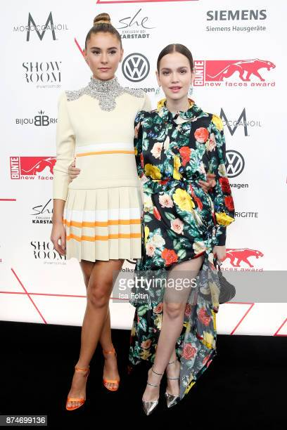 Model Stefanie Giesinger and German actrss Emilia Schuele attend the New Faces Award Style 2017 at The Grand on November 15 2017 in Berlin Germany