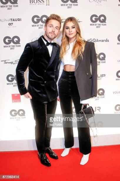 Model Stefanie Giesinger and her boyfriend Marcus Butler arrive for the GQ Men of the year Award 2017 at Komische Oper on November 9 2017 in Berlin...