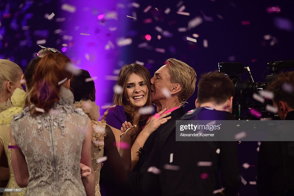 Model Stefanie Giesinger celebrates together with Wolfgang Joop after being chosen as Germanys Next Topmodel 2014 during the final of Germany's Next Top Model TV show at Lanxess Arena on May 8, 2014 in Cologne, Germany. Stefanie Giesinger was voted as winner of the 2014 Germany's Next Top Model TV show.