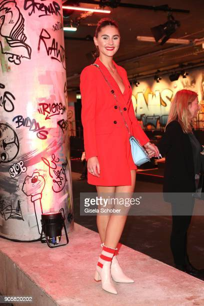 Model Stefanie Giesinger during the Marc Cain Fashion Show Berlin Autumn/Winter 2018 at metro station Potsdamer Platz at on January 16 2018 in Berlin...