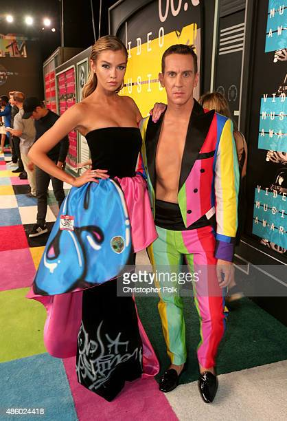 Model Stella Maxwell and fashion designer Jeremy Scott attend the 2015 MTV Video Music Awards at Microsoft Theater on August 30 2015 in Los Angeles...