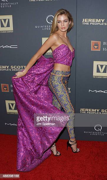 Model Stella Maxwell attend the Jeremy Scott The People's Designer New York premiere at The Paris Theatre on September 15 2015 in New York City