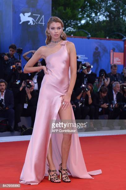 Model Stella Maxwell attends the premiere of the movie 'Mother' presented in competition at the 74th Venice Film Festival on September 5 2017 at...