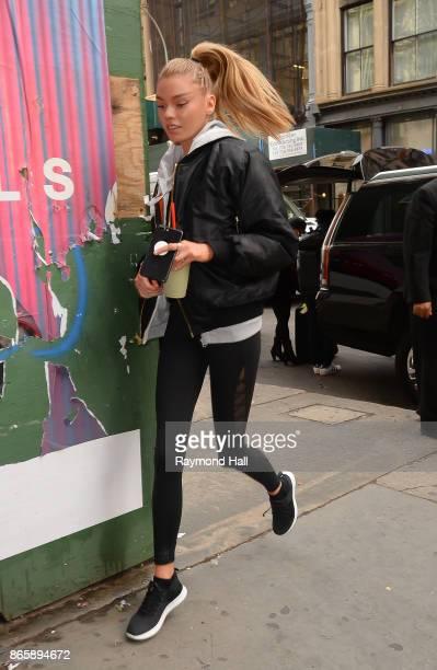 Model Stella Maxwell is seen running in Soho on October 24 2017 in New York City