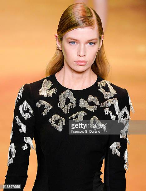 Model Stella Maxwell walks the runway during the Mugler show as part of the Paris Fashion Week Womenswear Fall/Winter 2016/2017 on March 5 2016 in...