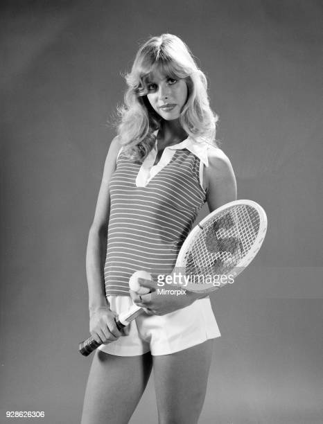 Model Stephane Mclean modelling tennis fashion including shorts by Fred Perry January 1974