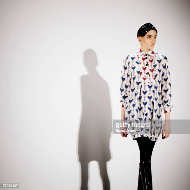 A model strikes a pose on the catwalk during Duro Olowu's Autumn/Winter 2007 show at London Fashion Week on February 12 2007 in London The organisers...