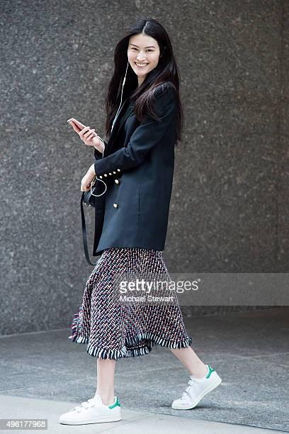 Model Sui He is seen in Midtown on November 7 2015 in New York City