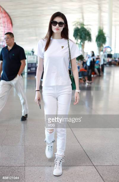 Model Sui He sets out for New York at Beijing Capital Airport on August 24 2017 in Beijing China