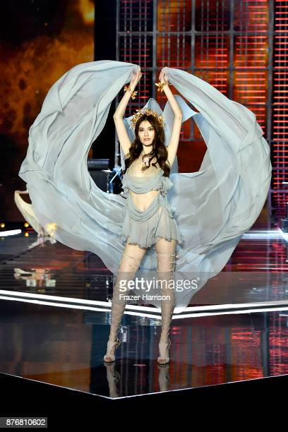 Model Sui He walks the runway during the 2017 Victoria's Secret Fashion Show In Shanghai at MercedesBenz Arena on November 20 2017 in Shanghai China