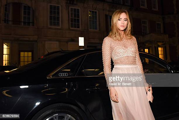 Model Suki Waterhouse arrives in an Audi at the Evening Standard Film Awards 2016 on December 8 2016 in London England