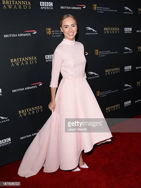 Model Suki Waterhouse attends the 2013 BAFTA LA Jaguar Britannia Awards presented by BBC America at The Beverly Hilton Hotel on November 9, 2013 in...