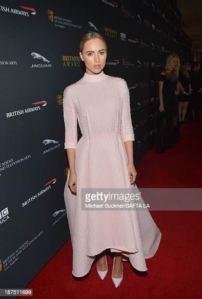 Model Suki Waterhouse attends the 2013 BAFTA LA Jaguar Britannia Awards presented by BBC America at The Beverly Hilton Hotel on November 9 2013 in...