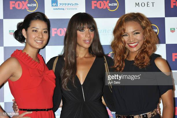 Model Sumire singers Leona Lewis and Crystal Kay arrive at the Fox bs238 Gala Nigh at Tabloid on Septetmber 30 2011 in Tokyo Japan