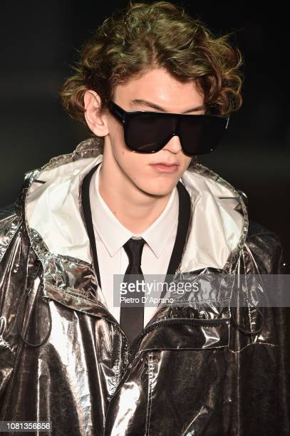Model, sunglasses detail, walks the runway at the Les Hommes show during Milan Menswear Fashion Week Autumn/Winter 2019/20 on January 12, 2019 in...