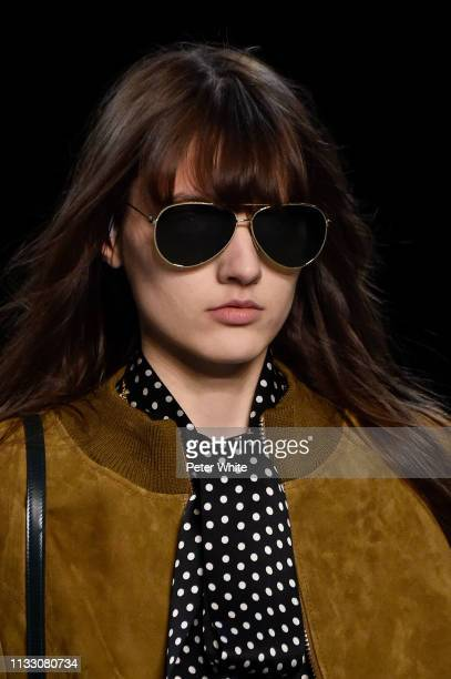 Model, sunglasses detail, walks the runway during the Celine show as part of the Paris Fashion Week Womenswear Fall/Winter 2019/2020 on March 01,...