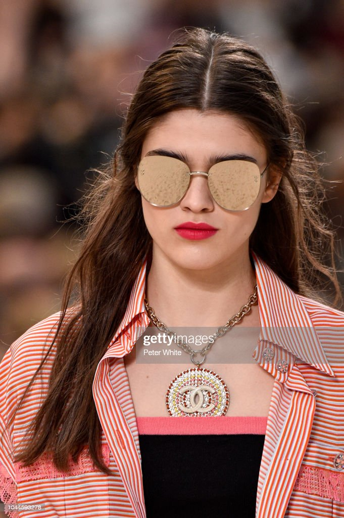 A Model Sunglasses Detail Walks The Runway During The Chanel Show