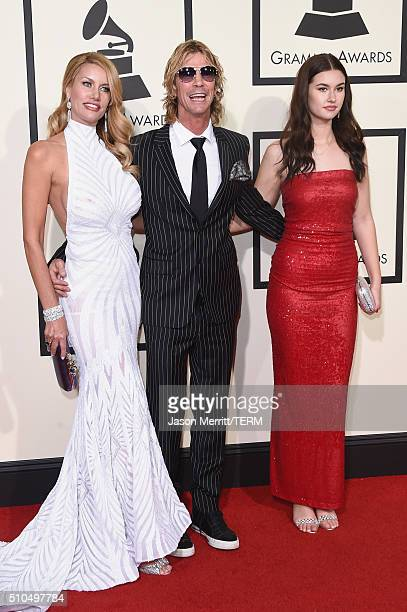 Model Susan HolmesMcKagan recording artist Duff McKagan and Mae McKagan attend The 58th GRAMMY Awards at Staples Center on February 15 2016 in Los...