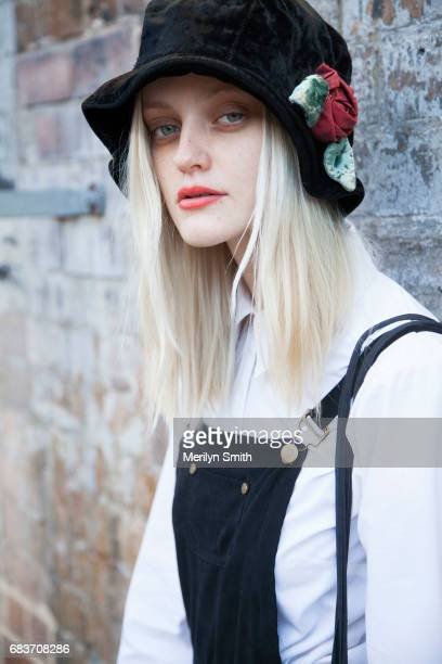 Model Sydney Barber is wearing all vintage during MercedesBenz Fashion Week Resort 18 Collections at Carriageworks on May 16 2017 in Sydney Australia