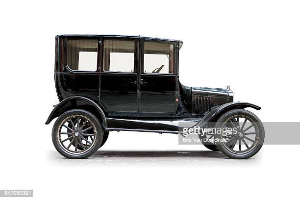 model t sedan silhouetted side view - eric van den brulle stock pictures, royalty-free photos & images