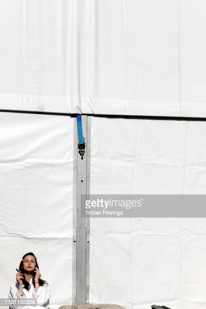A model takes a brabackstage ahead of the Anteprima show at Milan Fashion Week Autumn/Winter 2019/20 on February 21 2019 in Milan Italy