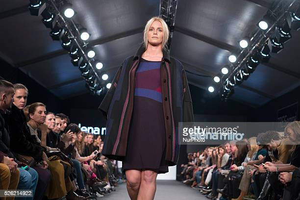 Model takes to the catwalk wearing a creation of Elena Miro label during the MFSHOW Woman fashion event in Madrid Spain 10 February 2016