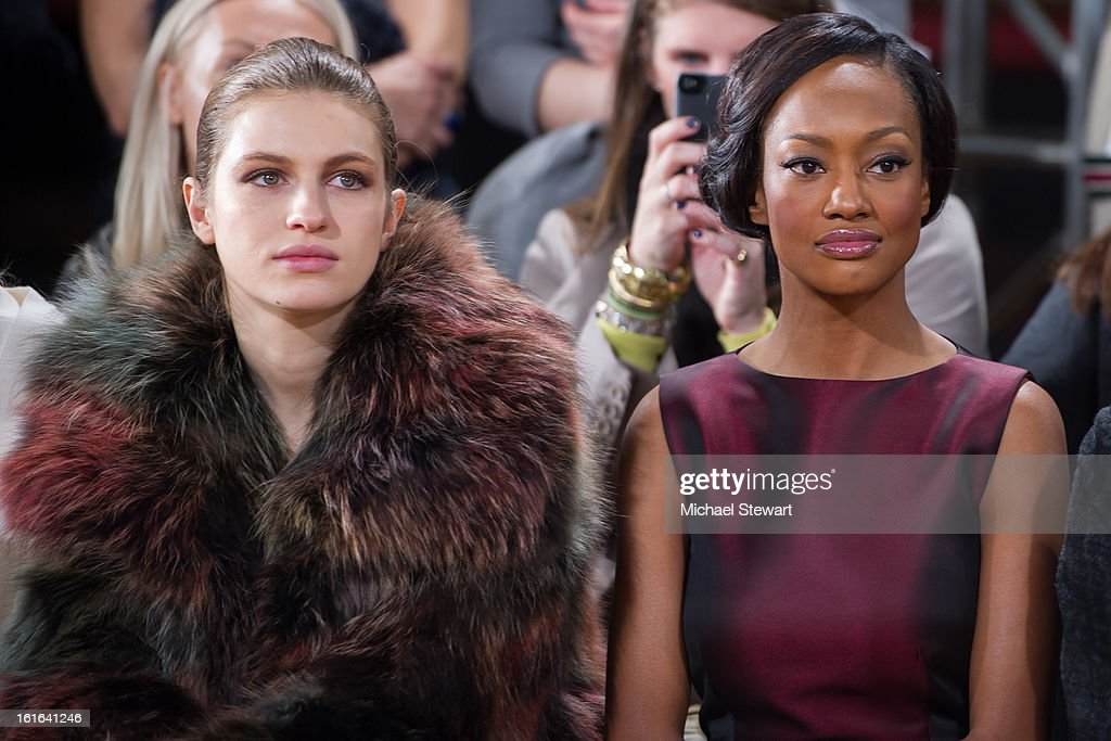 Model Tali Lennonx (L) and Nicole Galicia attend Philosophy By Natalie Ratabesi during fall 2013 Mercedes-Benz Fashion Week on February 13, 2013 in New York City.