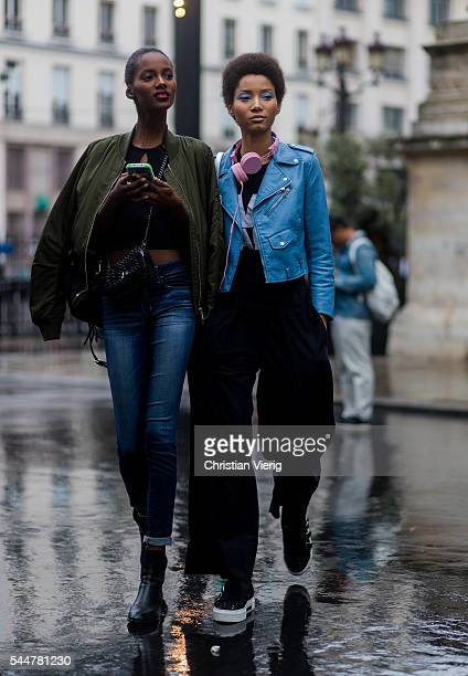 Model Tami Williams and Lineisy Montero outside Versace during Paris Fashion Week Haute Couture F/W 2016/2017 on July 3 2016 in Paris France