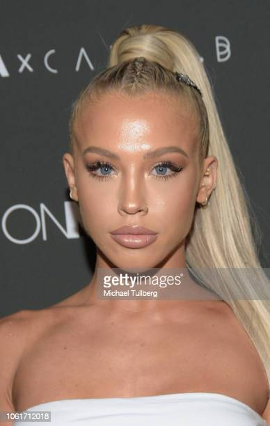 Model Tammy Hembrow attends the Fashion Nova x Cardi B collaboration launch event at Boulevard3 on November 14 2018 in Hollywood California