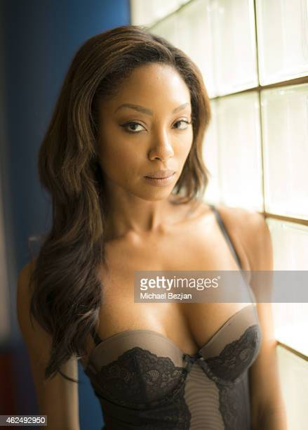 Model Tanisha Harper poses for portrait at Heather McDonald And Courtney Sixx Visit The Lowdown With Diana Madison on January 29 2015 in Hollywood...