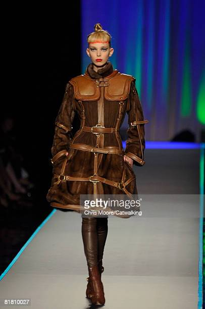 Model Tanya Dziahileva walks the runway wearing the Jean Paul Gaultier Haute Couture Autumn Winter 2008 collection during the Haute Couture Paris...
