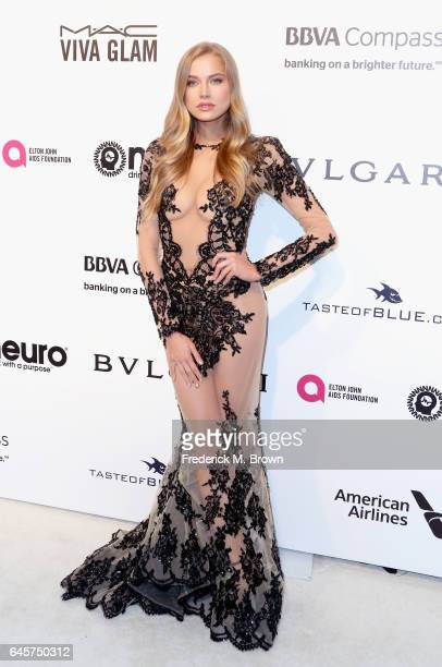 Model Tanya Mityushina attends the 25th Annual Elton John AIDS Foundation's Academy Awards Viewing Party at The City of West Hollywood Park on...