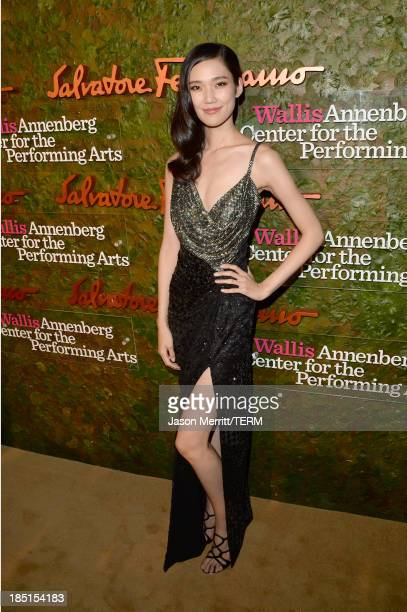 Model Tao Okamoto arrives at the Wallis Annenberg Center for the Performing Arts Inaugural Gala presented by Salvatore Ferragamo at the Wallis...